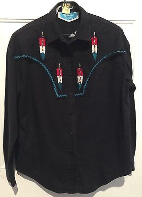 6b61fef3 Vintage Southwest Canyon Shirt Medium Black Western Rodeo Cowboy Shirt  Beaded