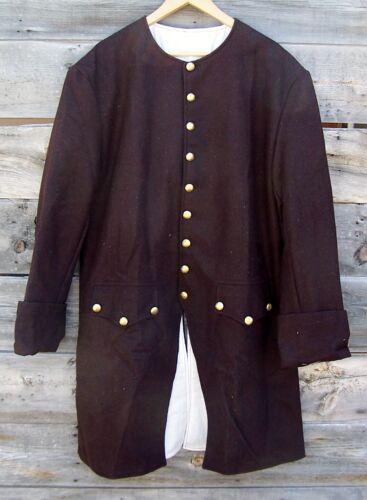 Revolutionary War Civilian Militia Brown Wool Frock Coat Pleated 50