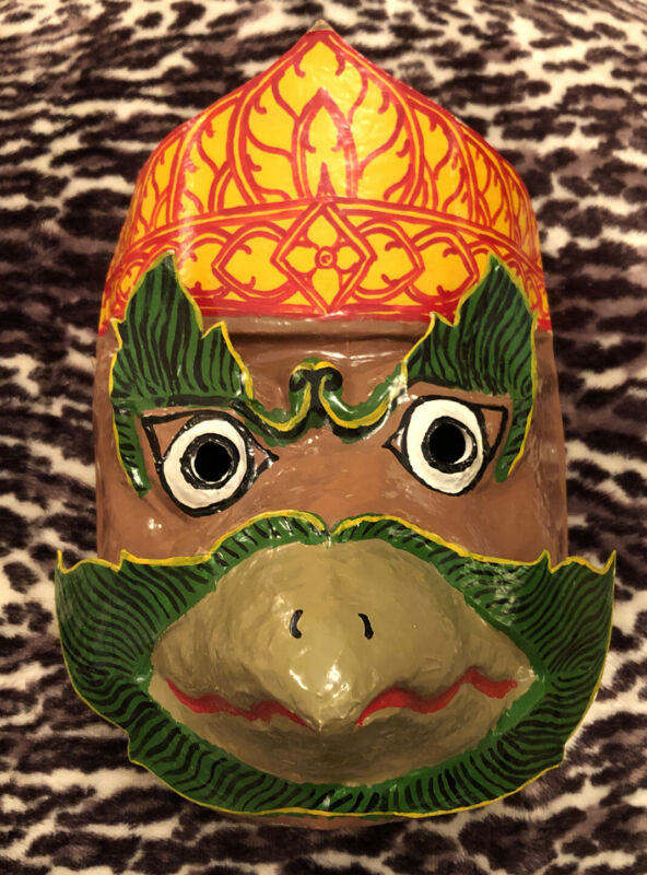 """vintage PAPER MACHÉ MASKS, Asian Art Cambodian! Signed by Artist! 10""""x7.25"""" inch"""