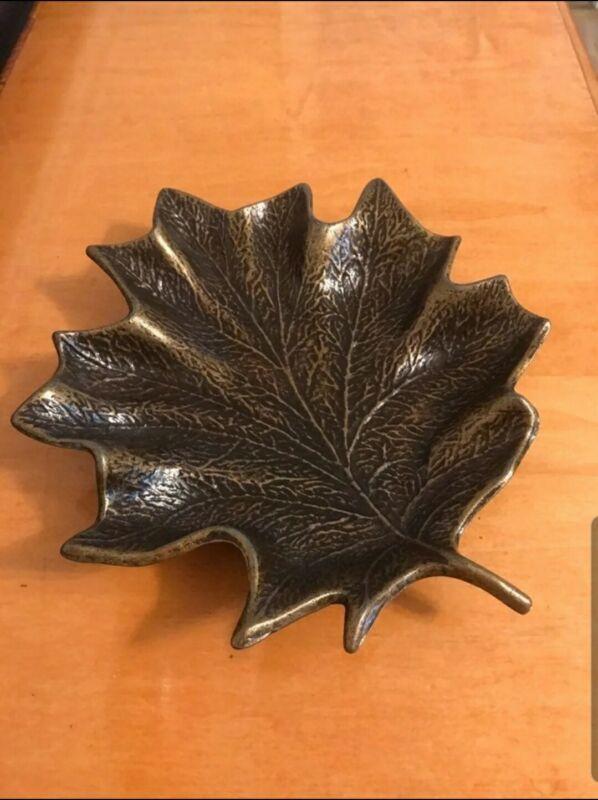 Vintage Cast Iron Bronze Leaf Dish Tray - Very Heavy!