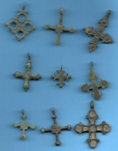 LOT OF 9 Ancient Viking Enamel Bronze Cross Kiev Russia ca 1100 Byzantine 78