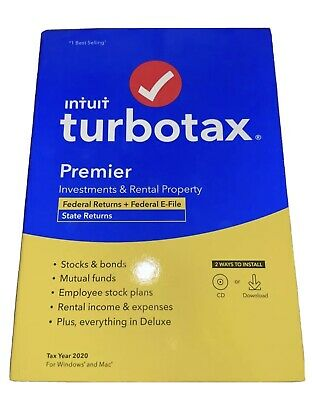 NEW TurboTax Premier 2020 Tax Software Federal State Returns E-File CD/Download