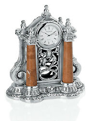 Hand Made Italian Silver Resin  4 Column Table Clock With Red Marble