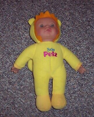 KS Toys BABY PETZ 11 Yellow Lion O/C Eyes Plush Baby Doll Vinyl Face GUC - $17.99