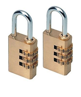 2x Heavy Duty 3 Digit Combination Brass Padlock Locker Luggage Travel Safety Set
