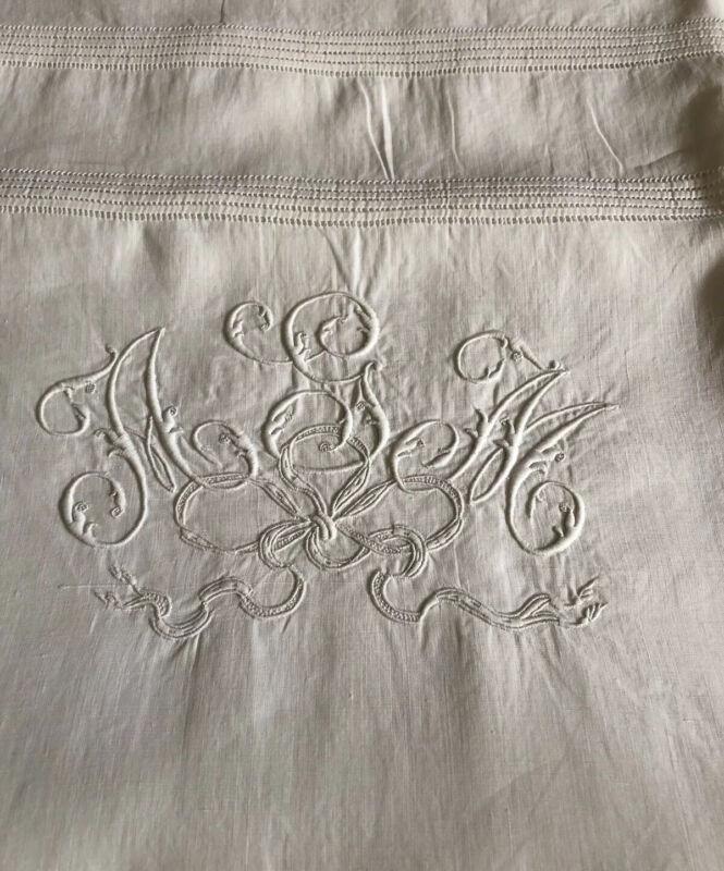 "Antique French Pure Linen Euro Sham 26"" square with fine Monogram"