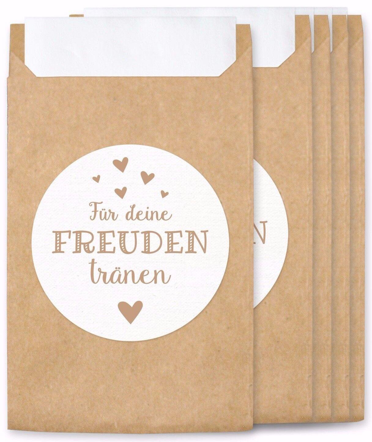 Freudentränen Flachbeutel & Sticker für Hochzeit Taschentücher Mini Papiertüten