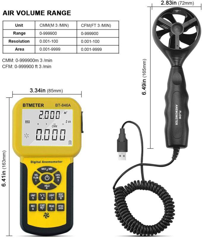 BTMETER BT-846A Pro HVAC Anemometer Measures CFM Air Flow Velocity Meter MAX MIN