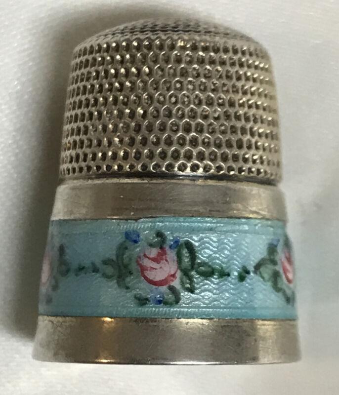 Antique Vintage Simon Bros Sterling Silver Blue Enamel Guilloche Thimble Size 11