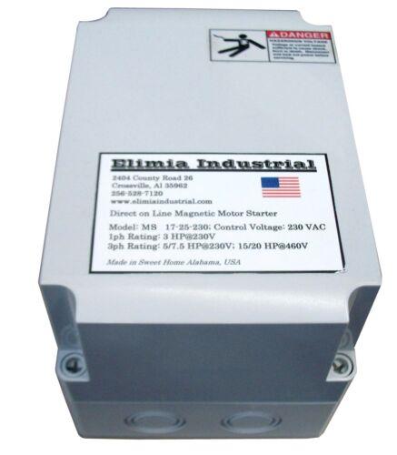 Elimia DOL Motor Starter 208-240V Coil 48-65 Amp 20 HP 3 PH NEMA 4X 230 Volt New