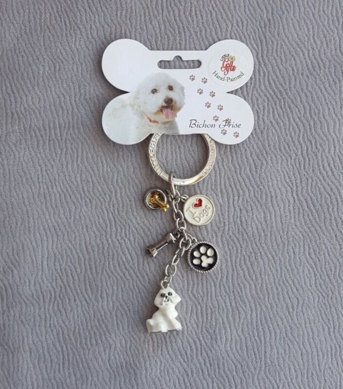 Bichon Frise Dog Lover Enamel 5 Charm Key Chain By Little Gifts NWT