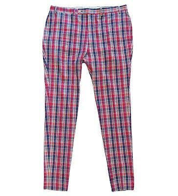 Vintage Lauren Ralph Lauren  Red Plaid 100% Cotton Pants Mens Size 38x34 Awesome