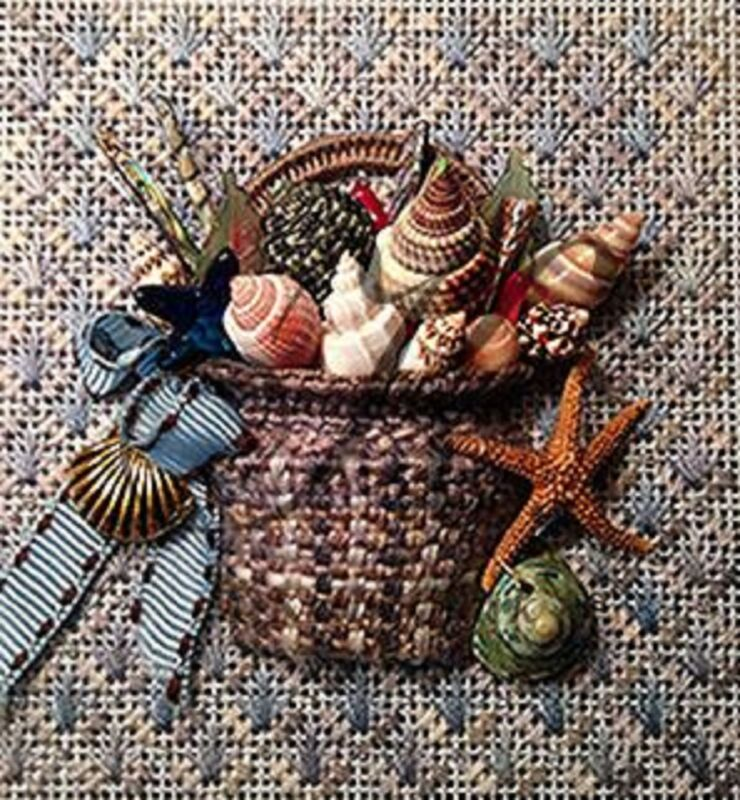 Needlepoint Kelly Clark Shell Basket Kit w/ Stitch Guide SLIGHTLY USED