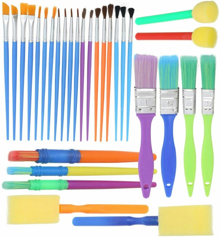 Complete Set of 30 Art Paint Brushes for Kids- Variety of Paintbrushes
