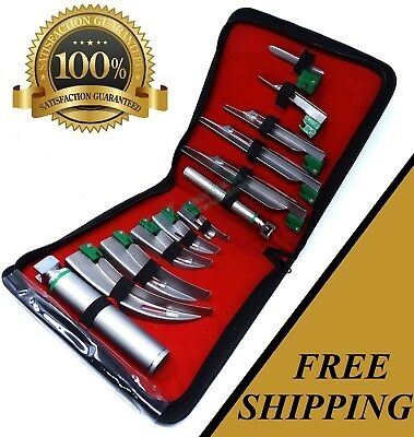 12 Pcs German Laryngoscope Set Fiber Optic Handle Blades Mac Mil 01234