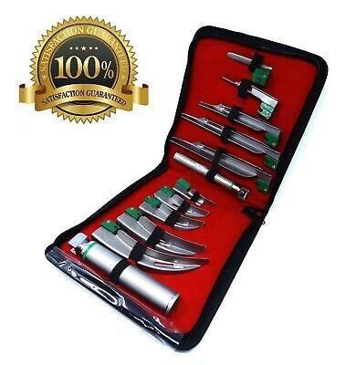 Set Of 10 Fiber Optic Mac Miller Laryngoscope Blade2 Handle Intubation Kit