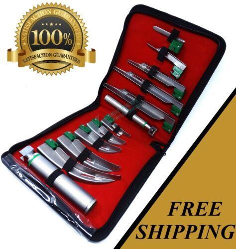 SET OF 10 FIBER OPTIC MAC & MILLER LARYNGOSCOPE BLADE+2 HANDLE INTUBATON kit