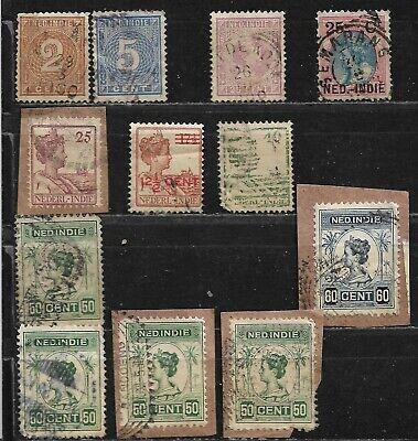 Lot de 12 timbres - INDE NEERLANDAISES - Oblitérés - (20)