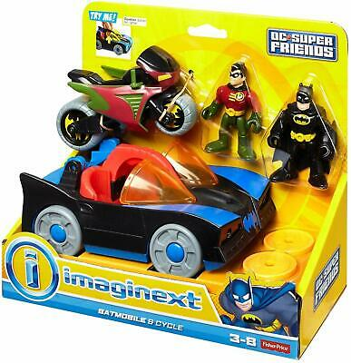 Fisher-Price Imaginext DC Super Friends Batmobile & Robin Cycle Figures