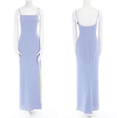 Used, VALENTINO Vintage lilac purple silk pastel layered slit minimal gown dress M for sale  Shipping to United States
