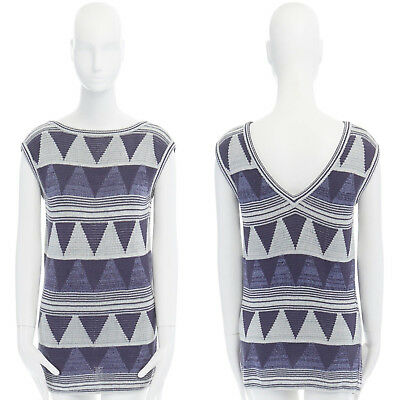 Argyle Triangle Top - ISSEY MIYAKE Vintage 1980s argyle triangle pattern knitted sleeveless top M US6