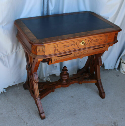 Antique Victorian Walnut Sewing Notions Storage Table Cabinet