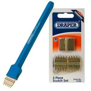 Draper Scutch Comb Holding Chisel 200mm With 4 Scutch Combs Bricklayers Tools