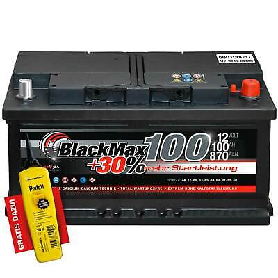 Autobatterie 12V 100Ah 870A BlackMax Starterbatterie ers 85 88 90 92 95 105 Ah