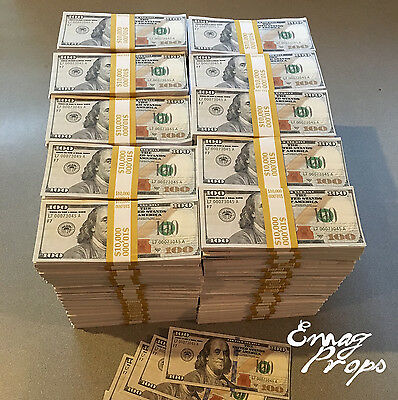 PROP MONEY New Style Wrapped $100s $1,000,000 Filler stacks For Movie, Videos