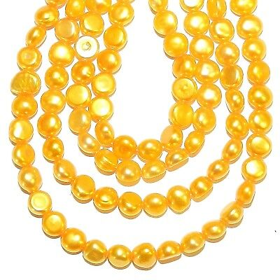 """NP473 Orange 5mm - 6mm Cultured Freshwater Flat Round Button Pearl Beads 15"""""""