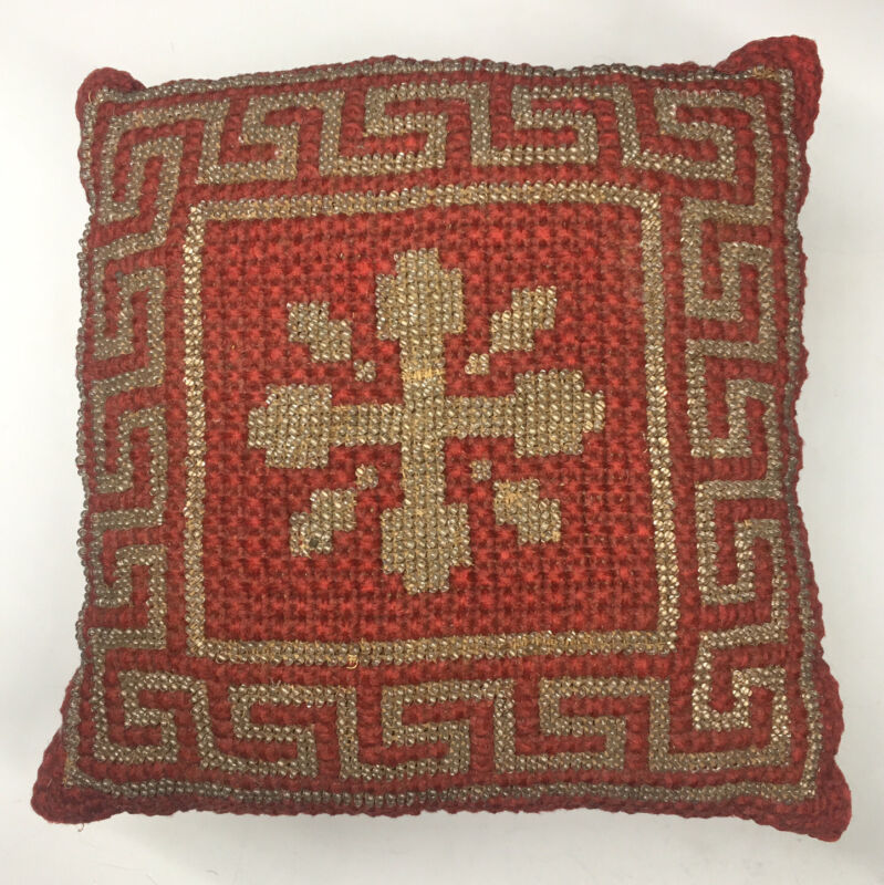 Antique (19th C.) Victorian Glass Beaded Pin Cushion Pillow Greek Key Design