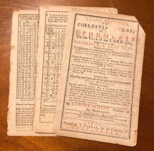 1765 coelstial atlas astronomical almanac sun moon Robert White duty stamp UK
