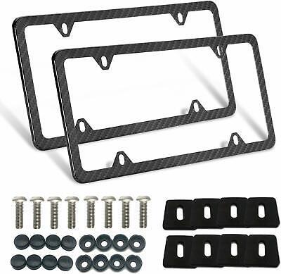 2Pcs Carbon Fiber License Plate Frames Front Rear Slim Rim Cover 4 holes w Screw