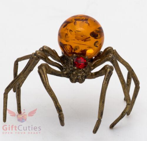 Solid Brass Amber Figurine of Black Widow Spider Totem talisman IronWork