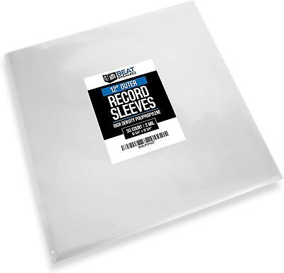 """(50) 12"""" Vinyl LP Record Outer Sleeves, 3 Mil, Crystal Clear HDPE, High Quality"""