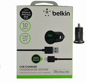 Belkin Car Charger  2.1 Amp w/ Lightning USB Cable for iPhone 5 / 5C / 5S