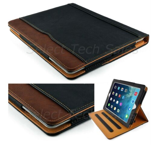 S-Tech New Black and Tan Apple iPad Air Soft Leather Wallet