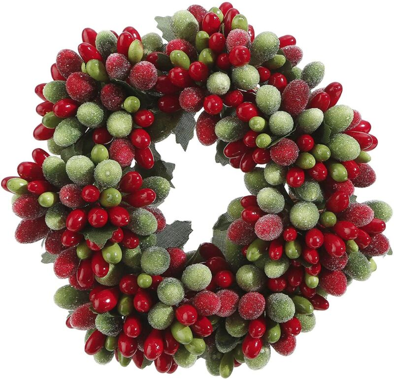 """Raz Imports 4"""" Candle Ring Red Green Beaded Pip Berry Christmas Fits 2"""" Votive"""