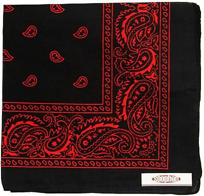 One Dozen Cowboy Bandanas 31. Black and Red Scarves  (Cowboy Red Bandana)