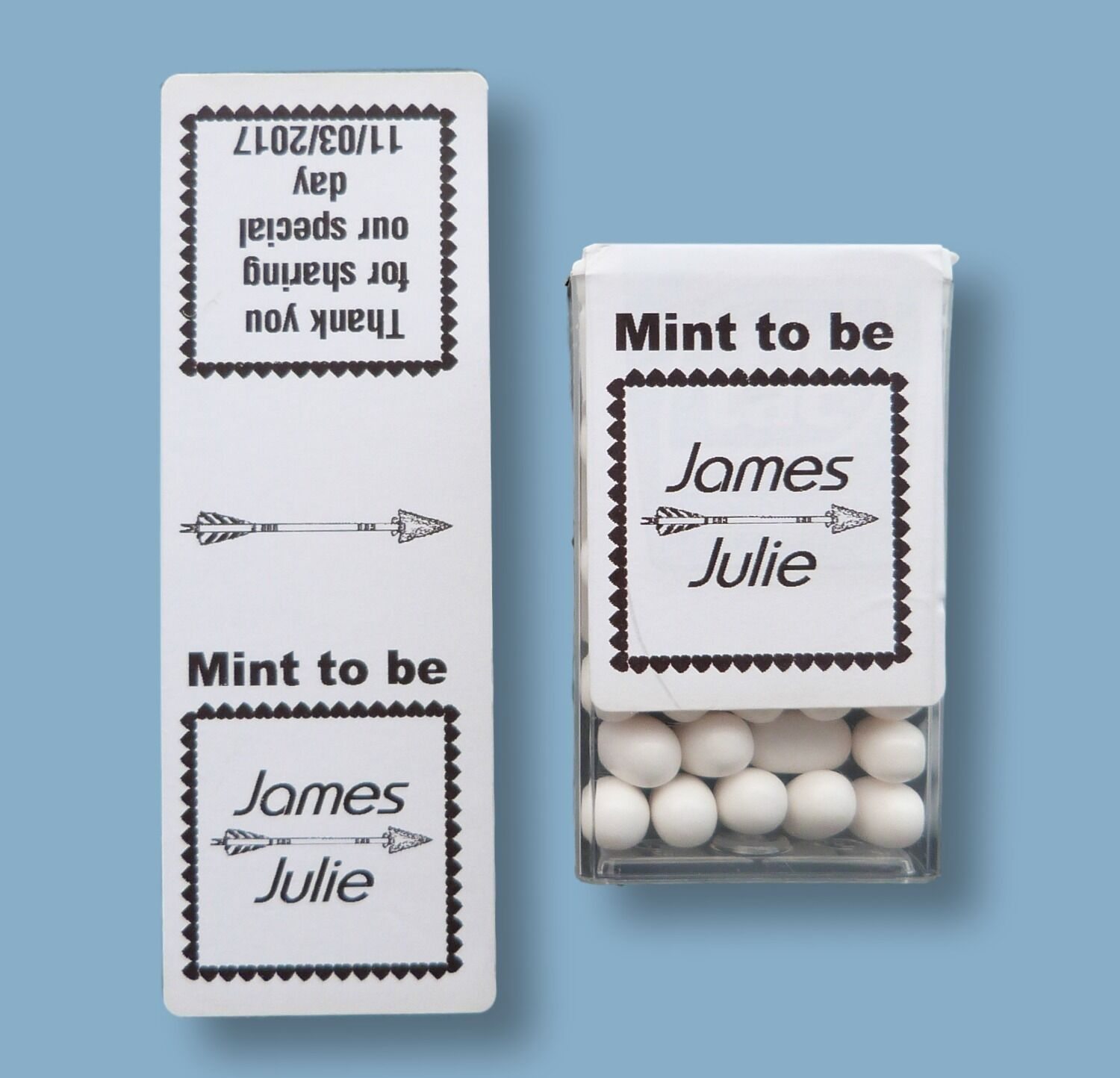 50 x BLACK/WHITE CUSTOM PERSONALISED MINT TO BE TIC TAC STICKERS ...