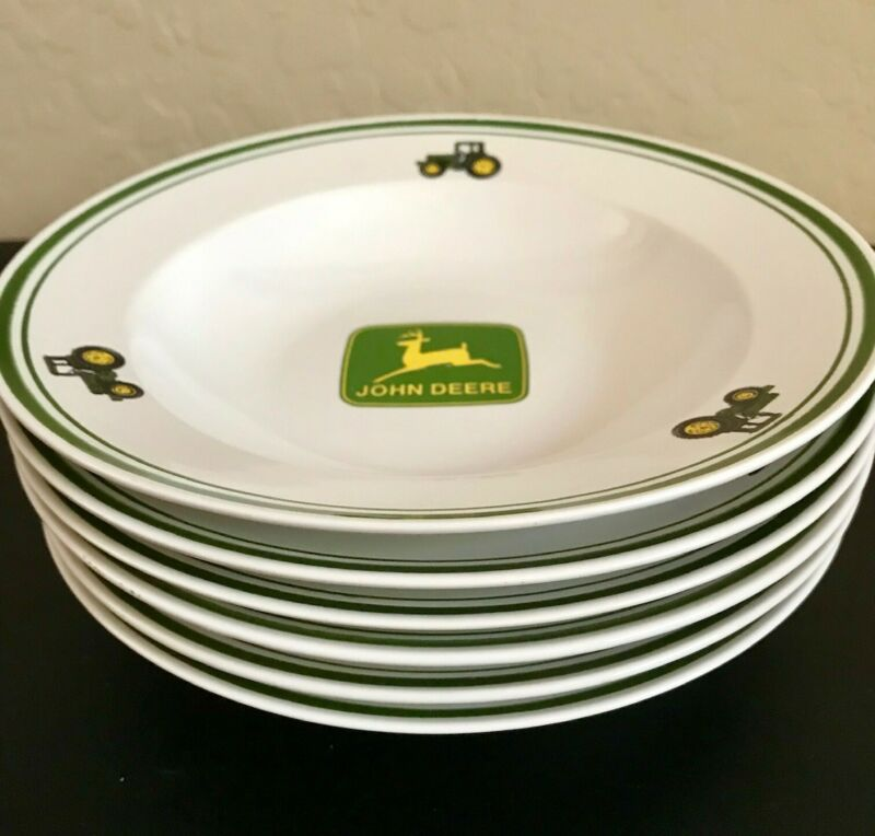 "John Deere Tractor 9"" Salad/Pasta/Soup Bowls (set of 6) with a green rim"
