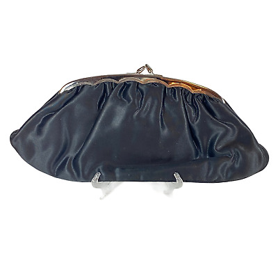 1940s Handbags and Purses History Vintage 1940's CRF Evening Hand Purse Clutch with Clasp Black Satin Silver Tone $29.99 AT vintagedancer.com