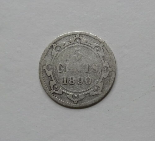 1890 Canada Newfoundland Five Cents Silver Coin