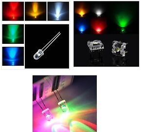 10-LED-ALTO-BRILLO-039-5mm-3mm-10mm-PIRANHA-RGB-BLANCOS-AZUL-ROJO-VERDE-amarillo