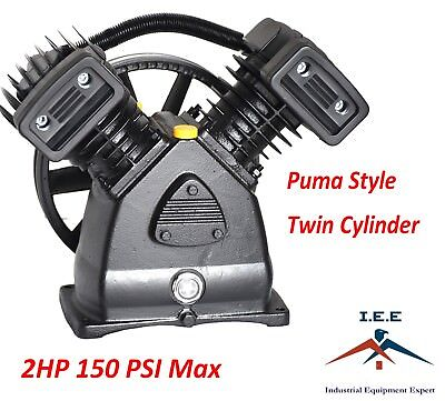 2 Hp Air Compressor Pump 150 Psi Max Replacement Pump Twin Cylinder Puma Style