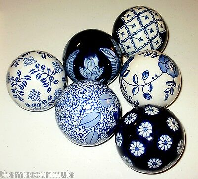 NEW~SET of 6 Blue & White Porcelain Asian Decor Carpet Balls Oriental Cobalt