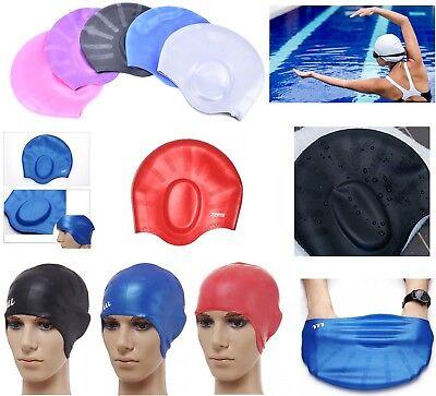 Silicone Stretch Swimming Cap Adult Large Men Ladies Female Long Hair Swim (Mens Swim Cap Large)