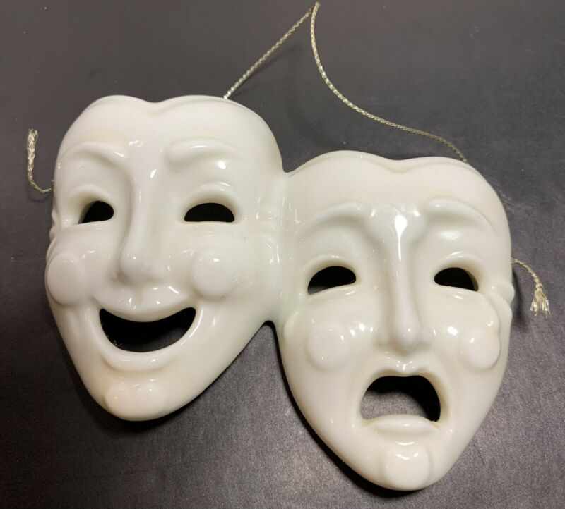 Vtg Comedy Tragedy Faces Small Mask Theatre Decor Ornament Taiwan