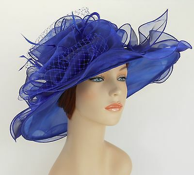 New Church Kentucky Derby Wedding Organza Wave Ascot Dress Hat 3190 Royal blue