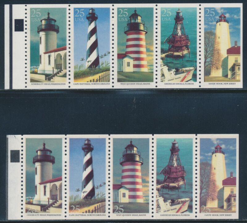 "#2474a Blkt Pane 25¢ ""lighthouse"" Color Shift Marjor Error Causing C.o.d. Br3205"